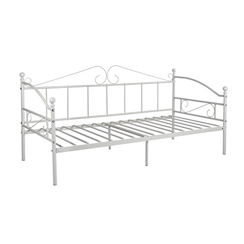 DORAFAIR Metal Day Bed Frame Guest Sofa Bed for Living Room Bed Room, Daybeds with Solid Metal Slat Mattress Platform Base, White