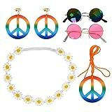 CJMM 5PCS Accesorios Disfraz Fiesta Hippie, Disfraz Hippie para Ropa de Los Años 70, 80 y 90, Collar de Signo de la Paz, Corona de Flores, Diadema, Gafas de Sol Hippie, Pendientes