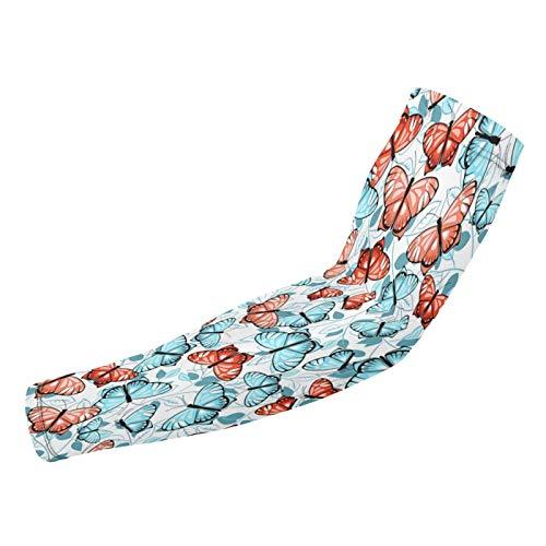 Wearibear Mangas de compresión para el brazo con diseño de mariposas, color azul y rosa