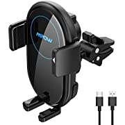 Mpow Car Wireless Charger, Qi Car Charger 10W/7.5W/5W, Auto-Clamping Wireless Car Charger, Air Vent Mount, Phone Car Holder Compatible/w iPhone 12/ Pro/ 11 Pro/11, Galaxy Note 20/S20, etc