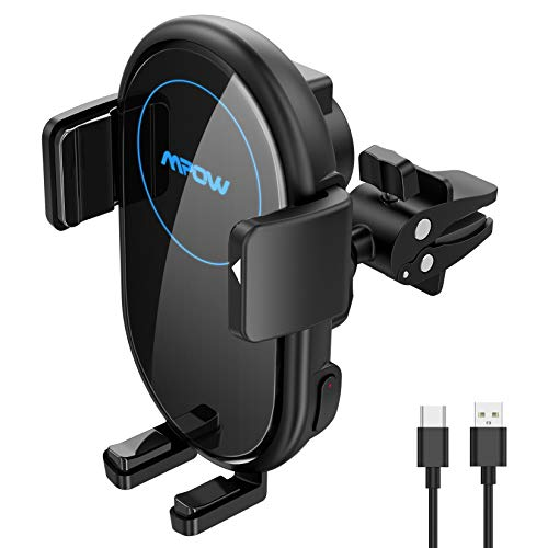 Mpow Wireless Car Charger, Qi Car Charger 10W/7.5W/5W, Auto-Clamping Car Wireless Charger, Air Vent Car Phone Mount, Compatible with iPhone 12/12 Pro/12 Pro Max/11 Pro, Galaxy Note 20/S20 and More
