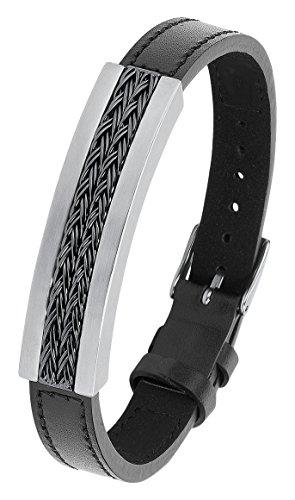 s.Oliver Herren-Armband IP Grey Beschichtung Lederarmband Edelstahl Leder 21.5 cm-2012476