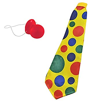 Giant Yellow Foam Clown Neck Tie & Honking Red Nose Set