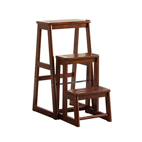 Taburete escalonero de madera maciza con 3 pasos, ligero y plegable, estante multiusos para escaleras, capacidad de 150 kg