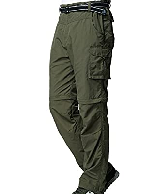 Men's Hiking Pants Convertible Lightweight Zip-Off Outdoor UPF 40 Quick Dry Fishing Safari Cargo Pants M885 Army Green,36
