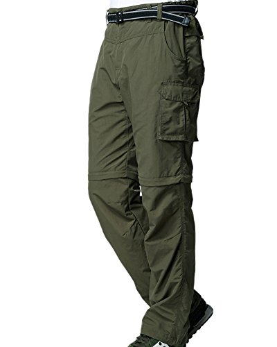 Men's Outdoor Quick Dry Convertible Lightweight Hiking Fishing Zip Off Cargo Work Pants Trousers Army Green