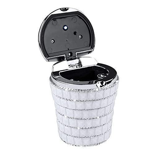 QTQZ Cenicero de Coche con Bling Bling Diamond Auto Cigarette Olor Smoke Remover Cilindro Portavasos con lámpara LED, Blanco