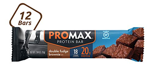 Promax Double Fudge Brownie, 20g High Protein, No Artificial Ingredients, Gluten Free, 12 Count