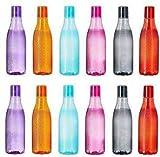 JM SELLER Bottle for Fridge Plastic Water Bottle Set, bottle Unbreakable 1 Litre, Multicolour (12 Pices)