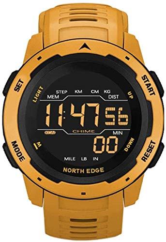 Reloj Deportivo multifunción, Reloj Militar electrónico para Hombres, Reloj Deportivo con podómetro, Cuenta atrás de calorías, Reloj Despertador antivibración-Amarillo