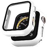 LϟK 2 Pezzi Bianca Custodia Cover per Apple Watch SE/Series 6 / Series 5 / Series 4 44mm con Vetro Temperato - Copertura Completa Custodia Rigida HD Clear Pellicola Protettiva