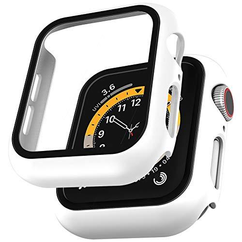 LϟK 2 Pack Funda Protector de Pantalla de Cristal Templado Incorporado para Apple Watch 44mm Series 6 5 4 SE - Estuche Protector General para PC Duro HD Ultra-Thin Carcasa para iWatch 44mm - Blanco