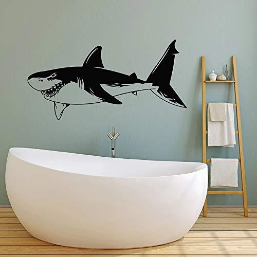 WERWN Tiburón Etiqueta de la Pared pez Grande océano océano Tema Estilo baño Dormitorio decoración del hogar Vinilo Etiqueta de la Pared Arte Mural