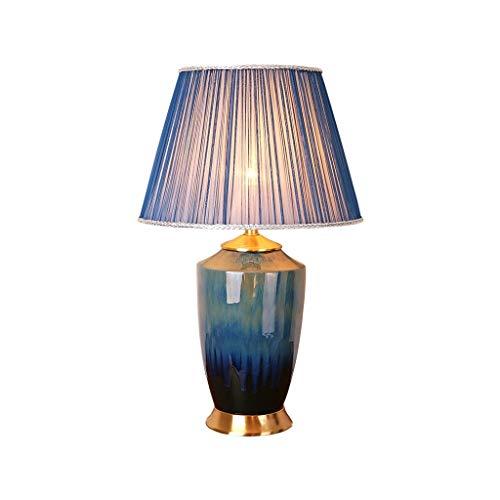 WFL-lámpara de escritorio Estilo retro americana lámpara de mesa de lujo de cobre Tela de cerámica lámpara de mesa del hotel Salón Dormitorio lámpara decorativa Lámpara de mesa Lámpara de mesa de alta