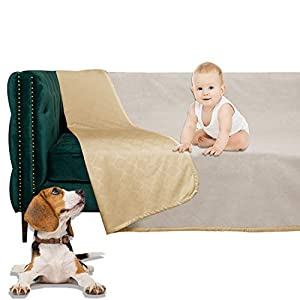 SMILETIME Waterproof Dog Bed Cover, Water-Resistant Soft Throw Blanket for Sofa, Couch and Furniture Protector, Incontinence Bed Underpads for Cats and Pets (80 X 102 Inch, Sand and Beige)