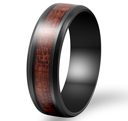 Fashion Month Mens 8mm Black Stainless Steel Ring Vintage Wedding Engagement Promise Band KOA Wood Inlay Comfort Fit Size 9.5