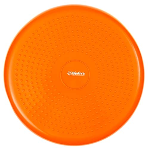 Bintiva Inflated Stability Wobble Cushion, Including Free Pump / Exercise Fitness Core Balance Disc,Orange,13 inches/ 33 cm diameter