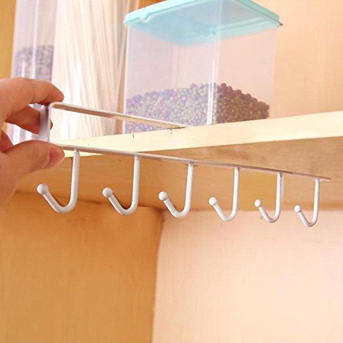 My Mug Schrankeinsatz Tassenhalter Küchenschrank, Küchenregal Kühlschrank mit 6 Haken, Türregal, Badregal, Küchenschrank,Küchen-Lagerregal-Schrank-hängender Haken (Weiß, 26x6.5x2.2cm)