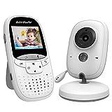 Moniteur bébé caméra vidéo sans Fil, vision nocturne, Écran numérique avec grande angle, interphone bi-directionnel, Mode VOX, alerte sonore et de température, longue durée batterie 2.0 Pouce