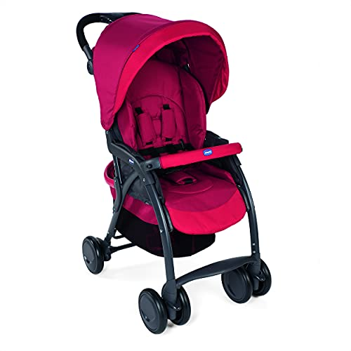 Chicco Simplicity Plus Stroller with Five-point safety harness system, Pram for boys and girls, For babies 0-4 years (Scarlet,...