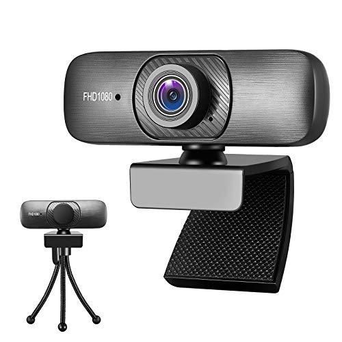 Full HD 1080P Webcam mit Mikrofon für PC Desktop Laptop, Plug & Play USB 2.0 Kamera für Konferenz, Online-Unterricht, Videoanrufe mit drehbarem Clip, Full HD Pro, Schwarz