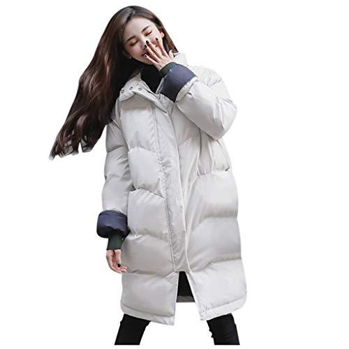 Wintermantel,ZHANSANFM Damen Lange Zipper Mantel Winter Winddicht Stehkragen Baumwolljacke Warme Winterparka Mode Slim Fit Winterjacke Basic Casual Dicke Outwear Parka Brot Kleidung (M, Weiß)