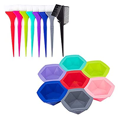 15 PCS Professional Salon Hair Coloring Dye Mixing Tint Bowls and Brush Kit [7 Tint bowl + 7 Hair coloring brush + 1Hair dye comb] Dye Brush & Comb/Mixing Bowl/Tint Tool - Multicolor