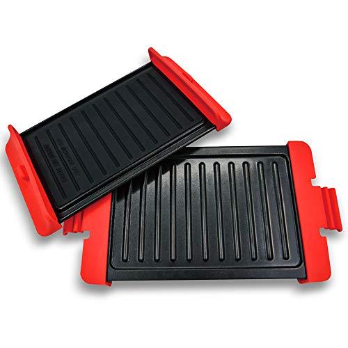 LHOTSE Micro-ondes Grill Machine à Sandwich Portable Presse à Panini et à Gaufres avec Plaques Revêtues Antiadhésives, Poêle Multifonction pour Micro-ondes, Rouge