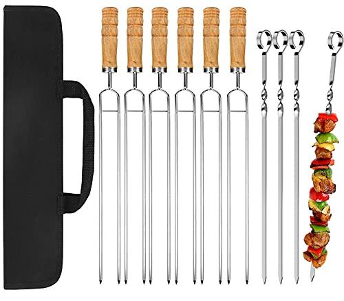 JEMESI 40cm Pinchos Barbacoa, Pinchos Largos Barbacoa 10 Unidades,para BBQ Carne Pollo Frutas (6pc de Barbacoa Dobles y 4 pc de Barbacoa Individuales)
