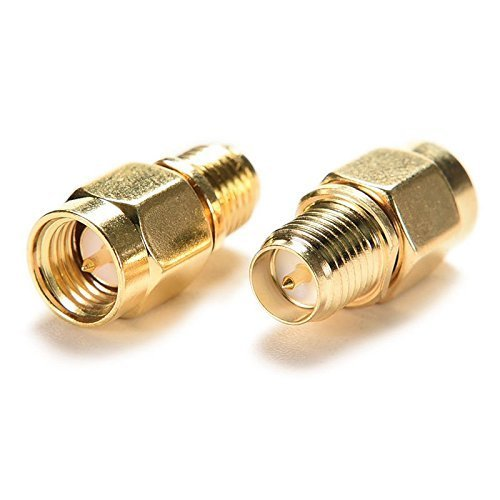 BlueBeach® 2 Stück Adapter Konverter SMA Stecker (Pin) zu RP-SMA Buchse (Pin) für Antenne Koaxial