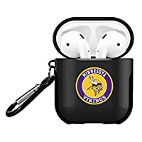 Vikings AirPods Accessories Case Cover, Cute Airpods 2 and 1 Silicone Protective Case Dust Guard Shockproof Cover Skin with Carabiner, Compatible for Airpods Wirelss Charging Case Black