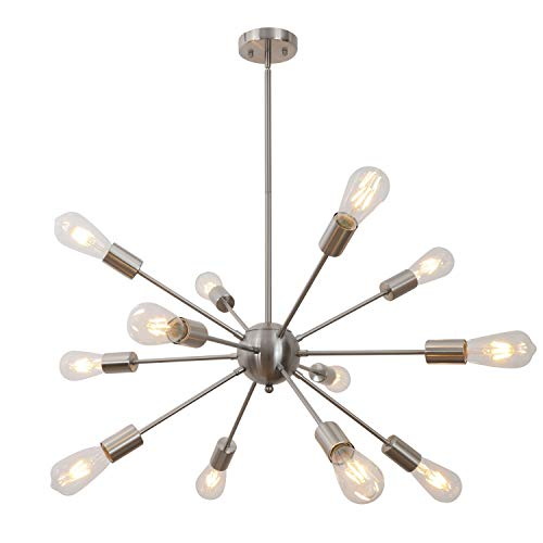 Sputnik Chandelier 12 Lights Modern Pendant Lighting Brushed Nickel Industrial Vintage Ceiling Light UL Listed by VINLUZ