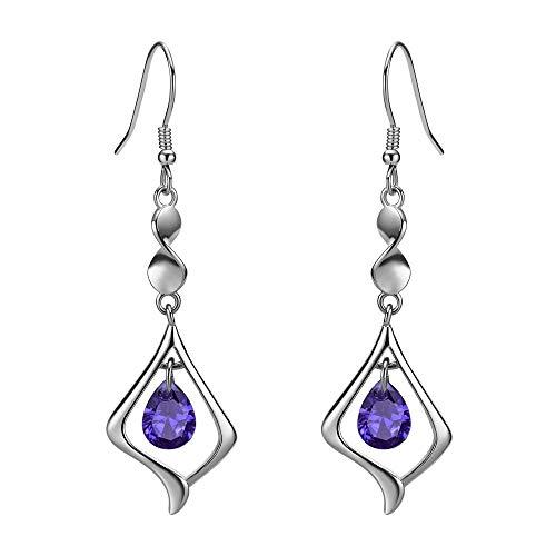 Purple Gemstone Gold Plate 925 Sterling Silver Drop Earrings for women (purple)