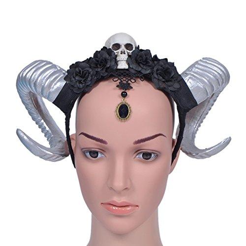 Gótico cuerno de oveja cráneo rosa flor diadema cuernos Halloween encaje Vintage accesorios para el pelo Changlesu (3)