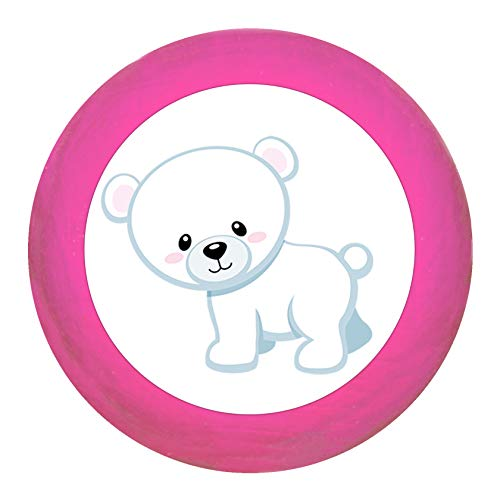 """Schrankgriff""""Eisbär stehend"""" pink Holz Buche Kinder Kinderzimmer 1 Stück wilde Tiere Zootiere Dschungeltiere Traum Kind"""