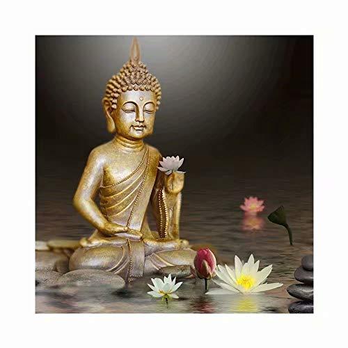 Pintura de diamante para pintar a mano con bordado de diamante religioso, pintura de punto de cruz de Buda por número Kit decoración del hogar arte de pared taladro completo redondo diamante