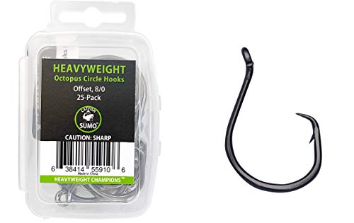 Heavyweight Catfish Hooks - Offset Octopus Circle Hooks - 25 Pack (8/0)