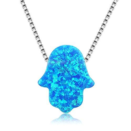 Kaletine Hamsa Mano de Fatima Gargantilla Colgante Collar de Plata Esterlina con Encanto Sintético Azul Opal 8x10mm y Cadena de Caja 40cm+5cm Extensor