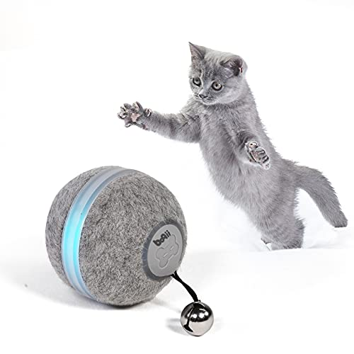 boqii Cat Toys for Indoor Cats Smart Balls, [3 Modes for Cats' Different Personalities] [Upgrade Plush Material] Interactive Cat Toys Balls, USB Charging Cat Stuff, Automatic Cat Toy as Cat Gifts