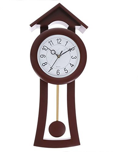 MR.ADDA Pendulum Wall Clock for Home/Kitchen/Living Room/Bedroom Plastic - Brown Tower (52 x 22 cm)