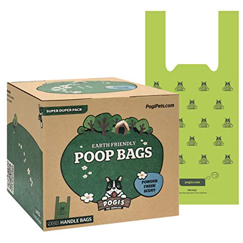 Sacchettini per pupù Pogi - 900 sacchettini per pupù con Manici Facili da Annodare - Grandi, biodegradabili, profumati, sacchettini per Pupù a Tenuta Perfetta