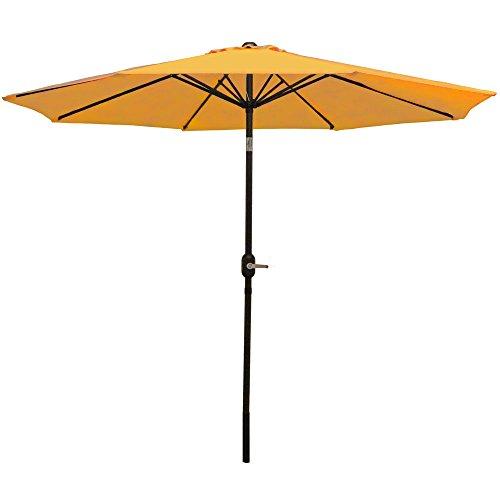 Sunnydaze 9 Foot Outdoor Patio Umbrella - Push-Button Tilt & Crank Patio Table Umbrella - Aluminum Pole & Polyester Shade Canopy - Gold