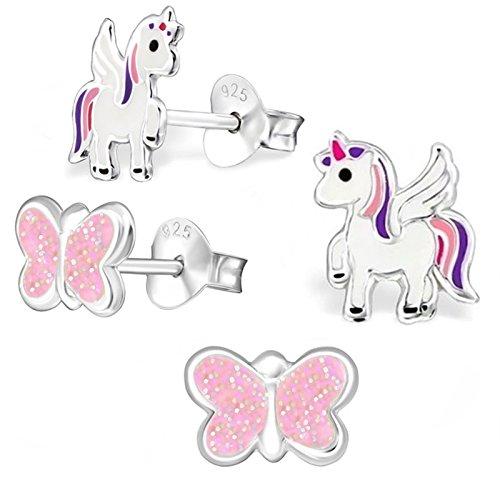 GH1a - Set de 2 paires de boucles d'oreilles à tige - Licorne et papillon brillant - Argent 925 véritable - Boucles d'oreilles d'enfants pour fille, rose, violet, blanc.