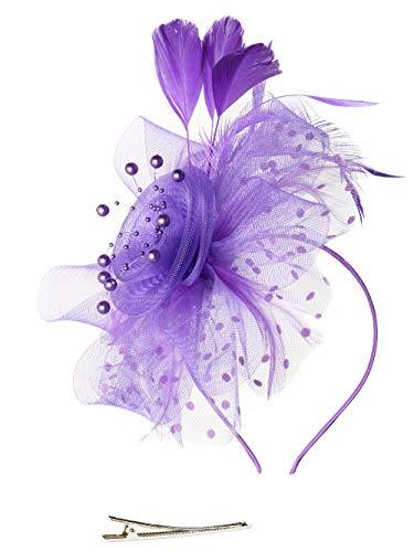 Fascinators Hat for Women Tea Party Headband Kentucky Derby Wedding Cocktail Flower Mesh Feathers Hair Clip (1-Purple)
