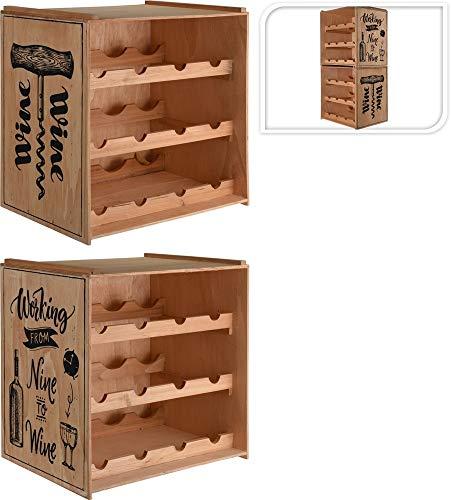 Unbekannt Holz Weinregal Shabby Chic Vintage stapelbar mit seitlichem Aufdruck/Wine oder Working from Nine to Wine