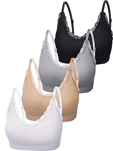 4 Stücke V Hals Cami Top BH Gepolstert Nahtlose Bralette Träger Schlafen BH für Damen Mädchen (Estilo de Encaje, Talla S-M)