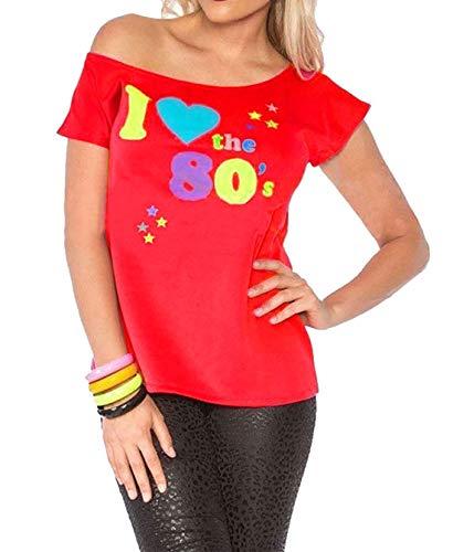 RIDDLED MET STYLE Womens Ik hou van de jaren '80 T-Shirt Outfit Dames Pop Star Retro Top Fancy Dress#(Rood Ik hou van de jaren '80 Print#XX Groot (UK 16-18)#Womens)