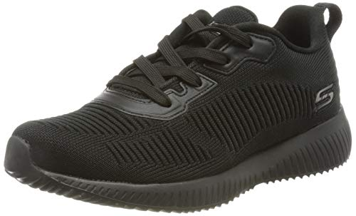 Skechers Bobs Squad-Tough Talk, Zapatillas Mujer, Negro (BBK Black Engineered Knit/Trim), 38 EU
