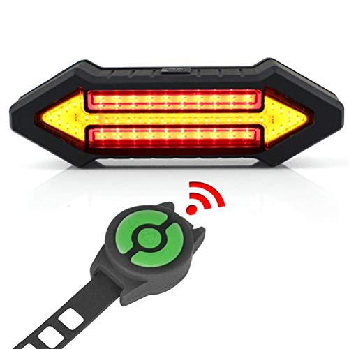 Fangteke Luz Trasera de Bicicleta LED con Intermitentes Luz de Bicicleta de Control Remoto inalámbrico Recargable USB Control Remoto Inteligente Luces de Giro