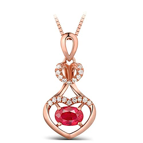 ButiRest Real Jewellery Necklace Red Ruby Oval Cut with Diamond 18K 750 Rose Gold Hollow Double Heart Chain Women's Pendant Red-0.99ct